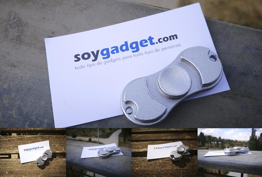Varias fotos de un fidget spinner de aluminio