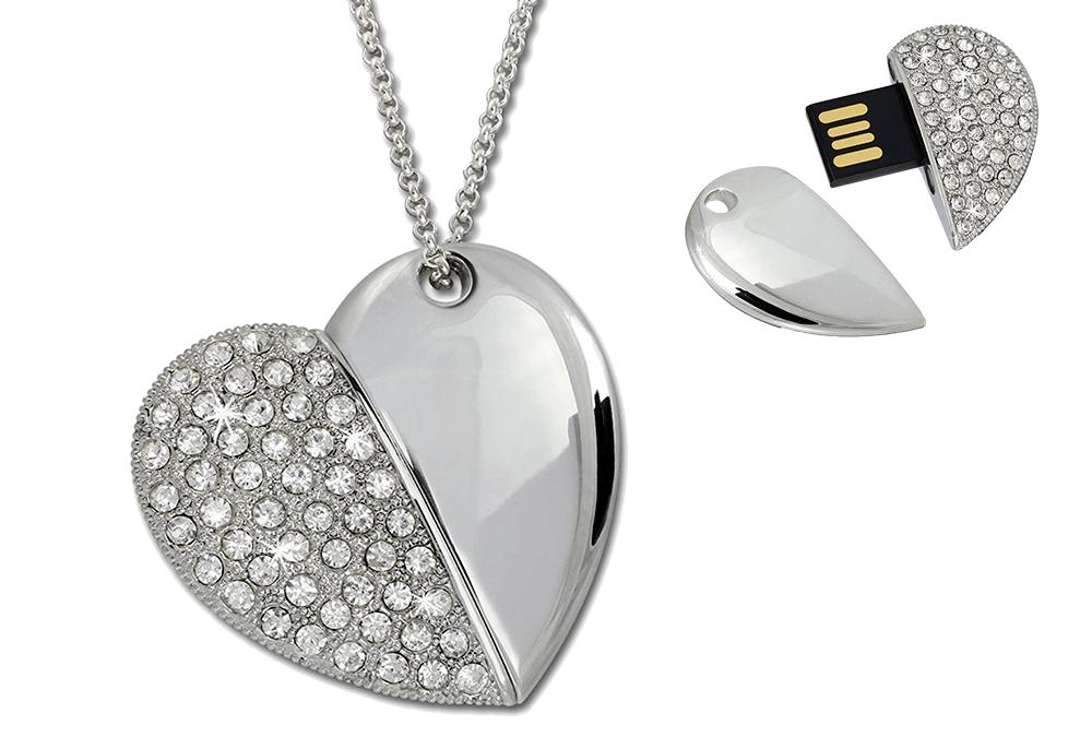 Colgante de corazón en plata de ley y USB de 16Gb