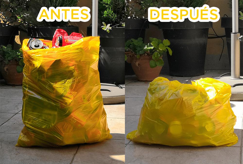 Comparativa de bolsas con latas recicladas.